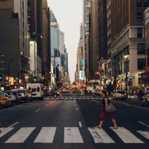 woman crossing on pedestrian lane